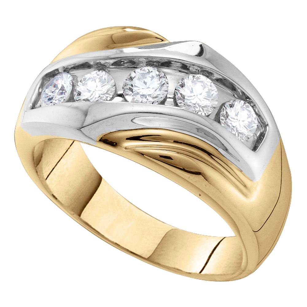 14K Yellow Gold Mens Round Diamond Single Row Two-tone Large Band Ring 1.00 Ct