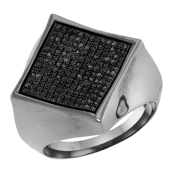 Men's 1/2 Ct Diamond Black Color Square Cluster Ring in 10K White Gold