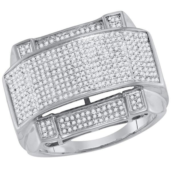 Men's 5/8 Ct Diamond Arched Rectangle Cluster Ring in 10K White Gold
