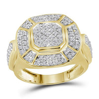 Men's 1/2 Ct Diamond Circle Cluster Ring in 10K Yellow Gold