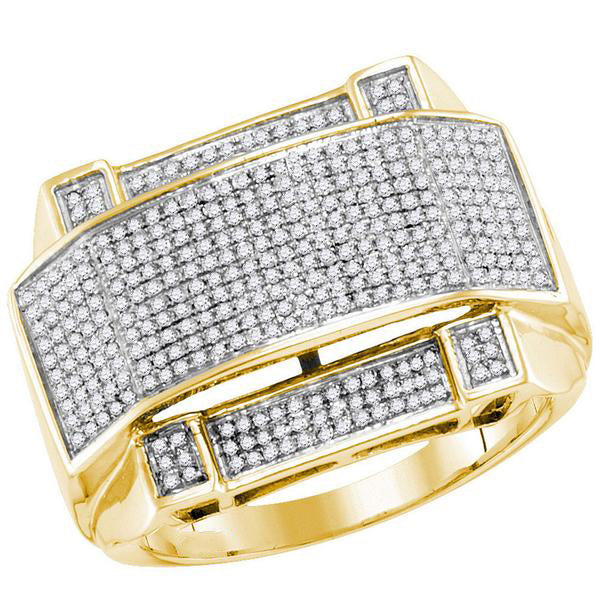 Men's 5/8 Ct Diamond Arched Rectangle Cluster Ring in 10K Yellow Gold