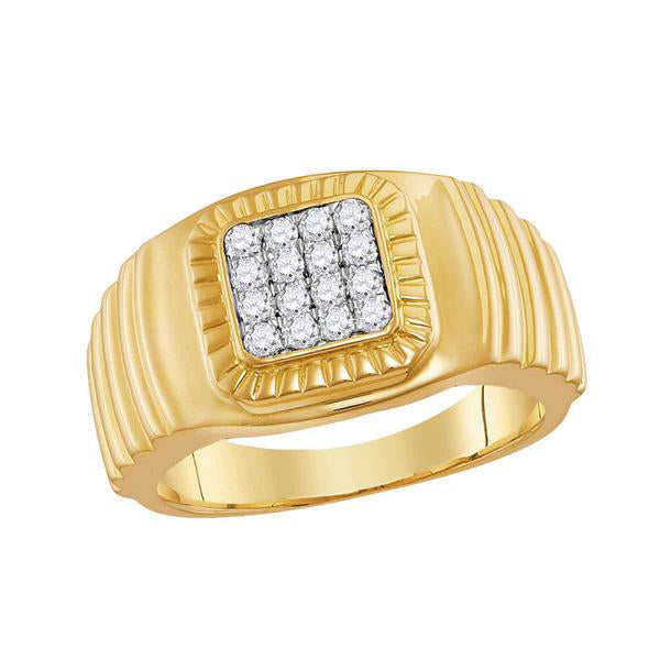 Men's 1/2 Ct Diamond Square Cluster Ribbed Accent Ring in 10K Yellow Gold