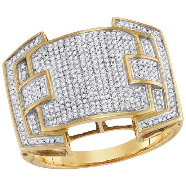 Men's 5/8 Ct Diamond Arched Square Cluster Ring in 10K Yellow Gold