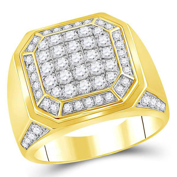 Men's 2.00 Ct Diamond Octagon Cluster Ring in 14K Yellow Gold