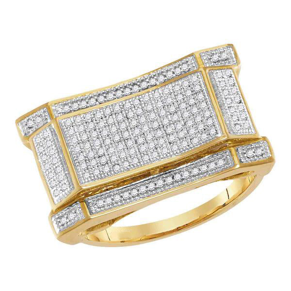 Men's 1/2 Ct Diamond Concave Rectangle Cluster Ring in 10K Yellow Gold