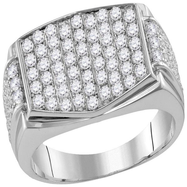 Men's 2.00 Ct Diamond Pave-set Rectangle Cluster Ring in 10K White Gold