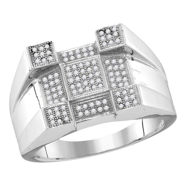 Men's 1/2 Ct Diamond Square Corner Cluster Ring in 10K White Gold