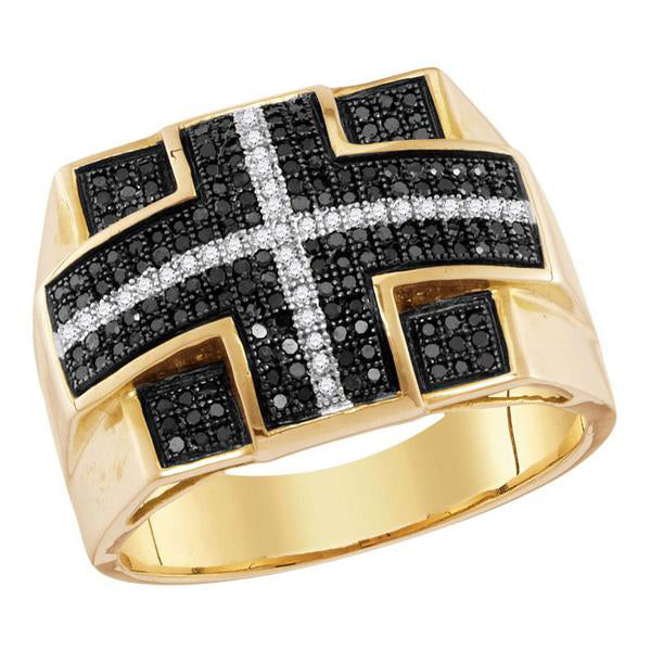 Men's 5/8 Ct Diamond Black Color Cross Stripe Square Cluster Ring in 10K Yellow Gold
