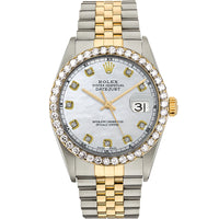 Diamond Rolex Two-Tone 18K Gold Datejust 36 White Pearl Iced Watch