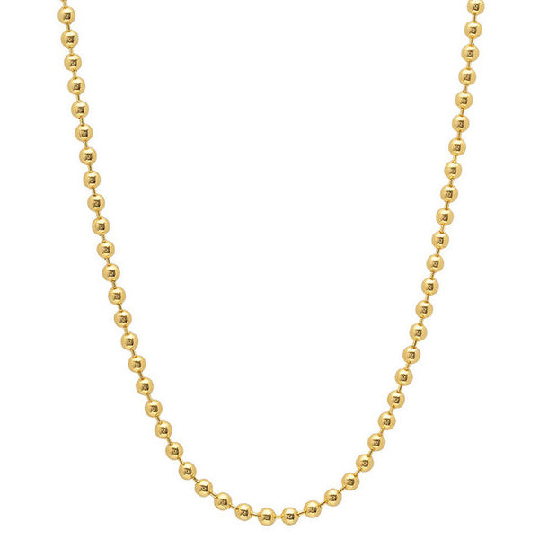 10K Yellow Gold Men's Solid Moon Cut Ball Bead Chain