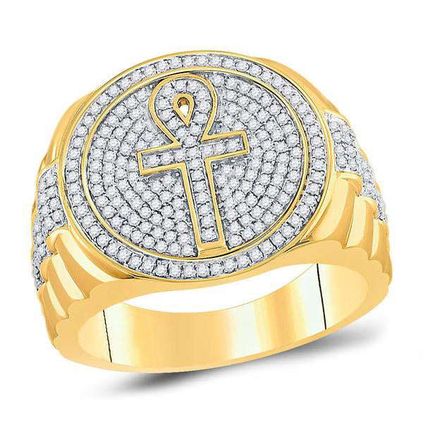 Men's 3/4 Ct Diamond Ankh Cross Cluster Ring in 10K Yellow Gold
