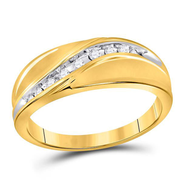 Men's 1/8 Ct Diamond Single Row Band Ring in 10K Yellow Gold