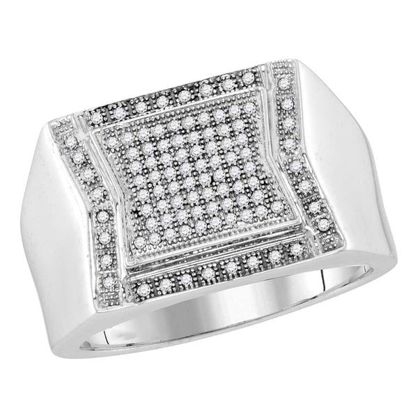 Men's 1/3 Ct Diamond Indented Square Cluster Ring in 10K White Gold