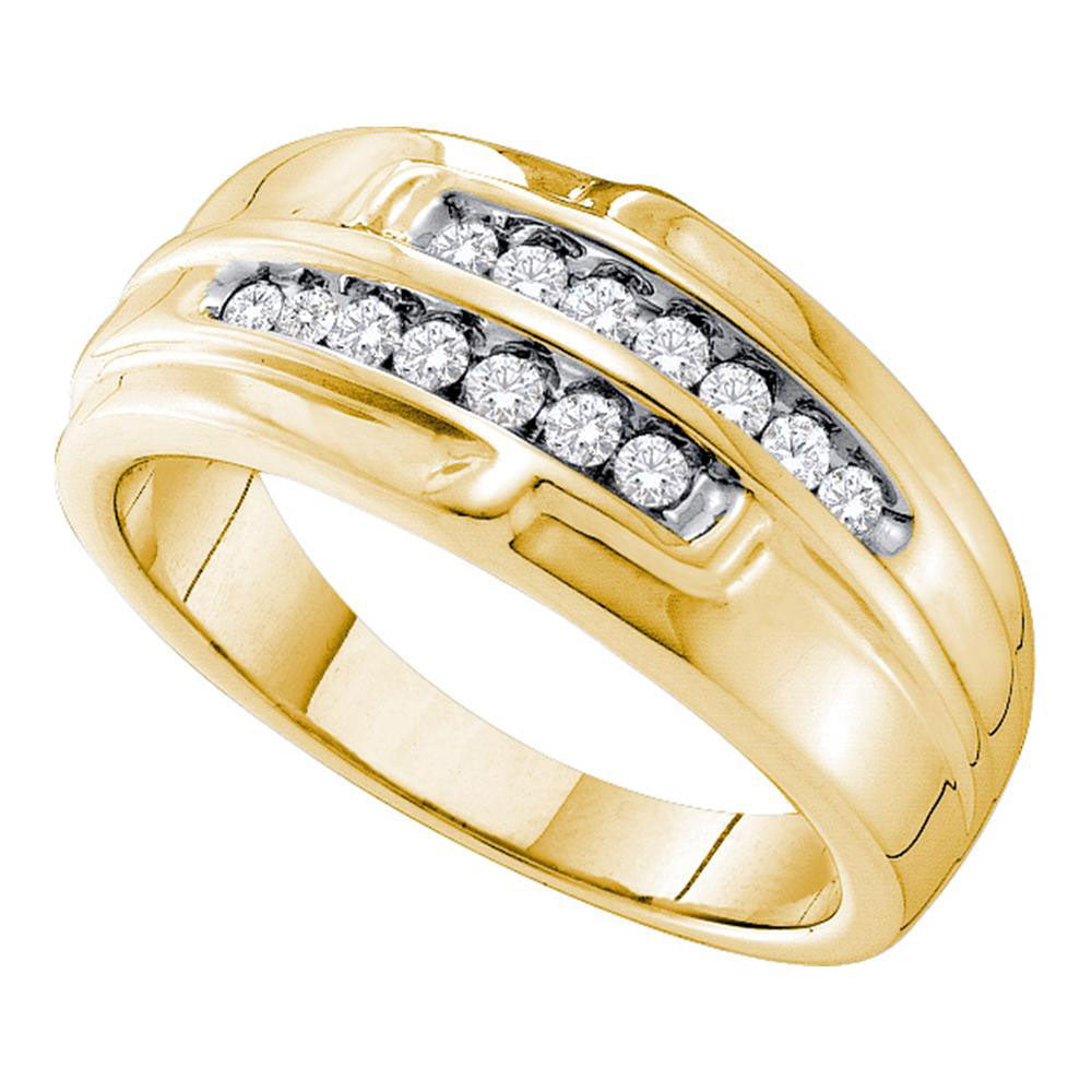 14K Yellow Gold Mens Round Diamond Double Row Band 1/3 Ct