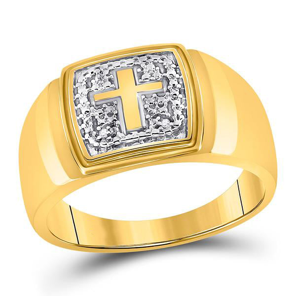 Men's .01 Ct Diamond Christian Cross Band Ring in 10K Yellow Gold