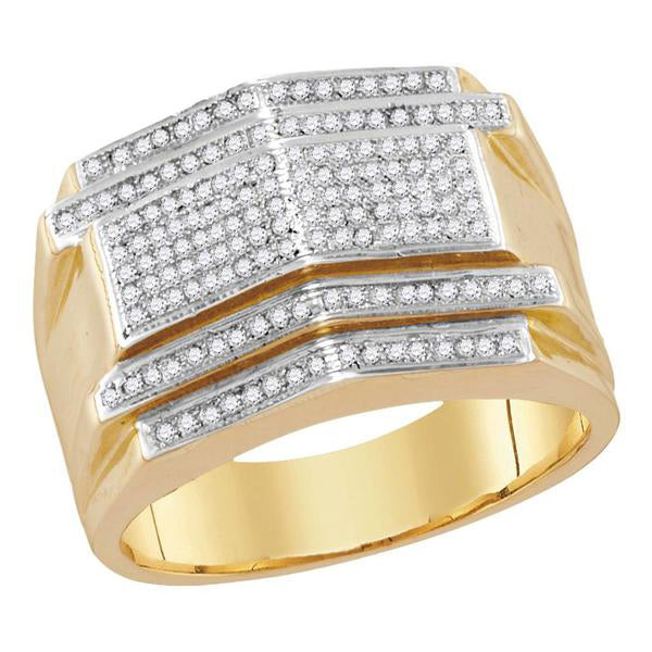 Men's 1/2 Ct Diamond Symmetrical Arched Cluster Ring in 10K Yellow Gold