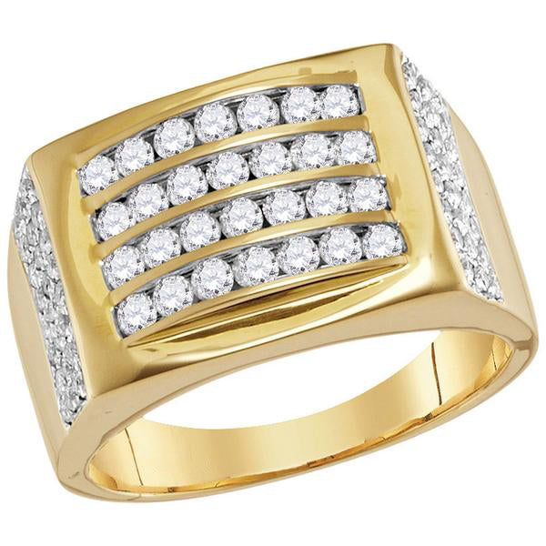 Men's 1-1/3 Ct Diamond 4 Row Rectangle Fashion Ring in 14K Yellow Gold