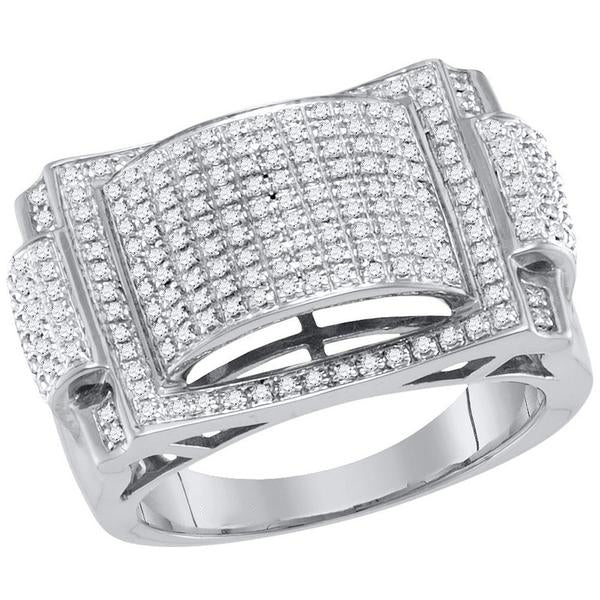 Men's 5/8 Ct Diamond Pave-set Dome Convex Cluster Ring in 10K White Gold