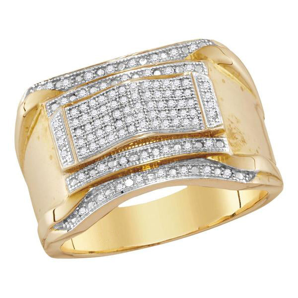 Men's 1/3 Ct Diamond Contoured Arch Cluster Ring in 10K Yellow Gold