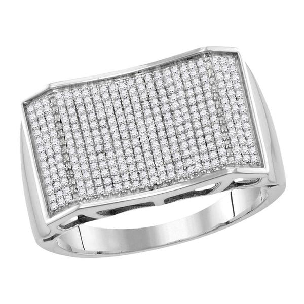 Men's 5/8 Ct Diamond Pave-set Rectangle Convex Cluster Ring in 10K White Gold