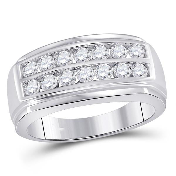 Men's 1.00 Ct Diamond Double Row Band Ring in 14K White Gold
