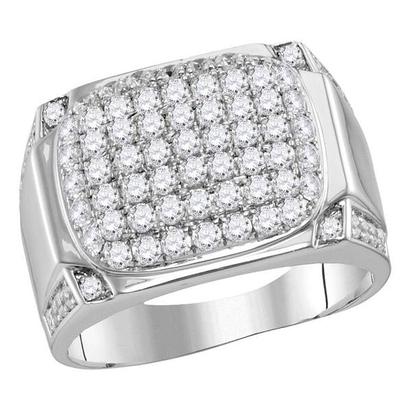 Men's 2.00 Ct Diamond Rectangle Cluster Fashion Ring in 10K White Gold