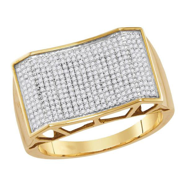 Men's 5/8 Ct Diamond Pave-set Rectangle Convex Cluster Ring in 10K Yellow Gold