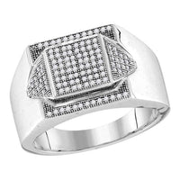Men's 1/3 Ct Diamond Elevated Square Cluster Ring in 10K White Gold
