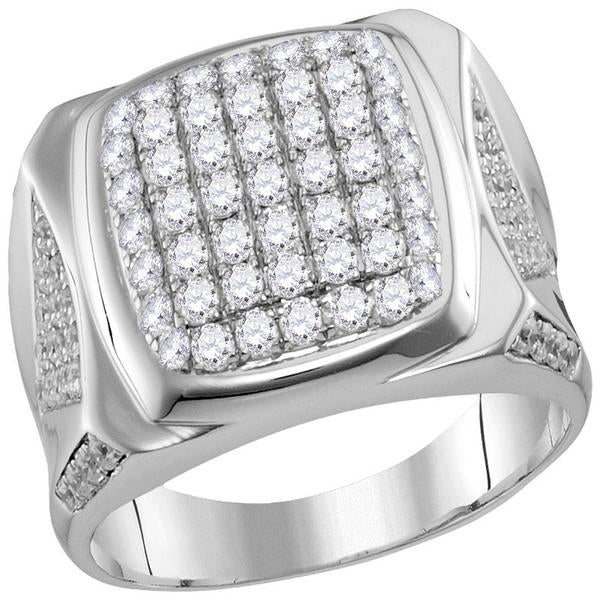 Men's 2.00 Ct Diamond Square Cluster Ring in 10K White Gold