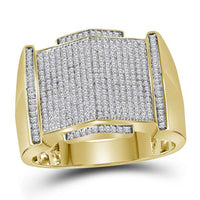 Men's 5/8 Ct Diamond Pointed Symmetrical Cluster Ring in 10K Yellow Gold