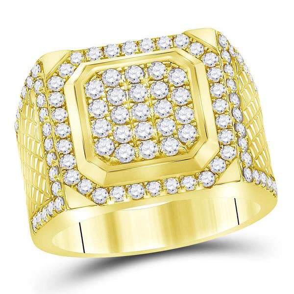 Men's 2.00 Ct Diamond Square Cluster Ring in 14K Yellow Gold