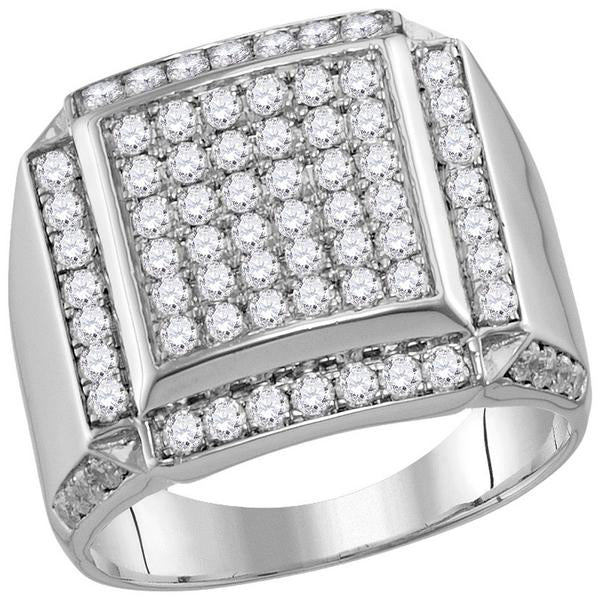 Men's 2.00 Ct Diamond Square Framed Cluster Ring in 10K White Gold