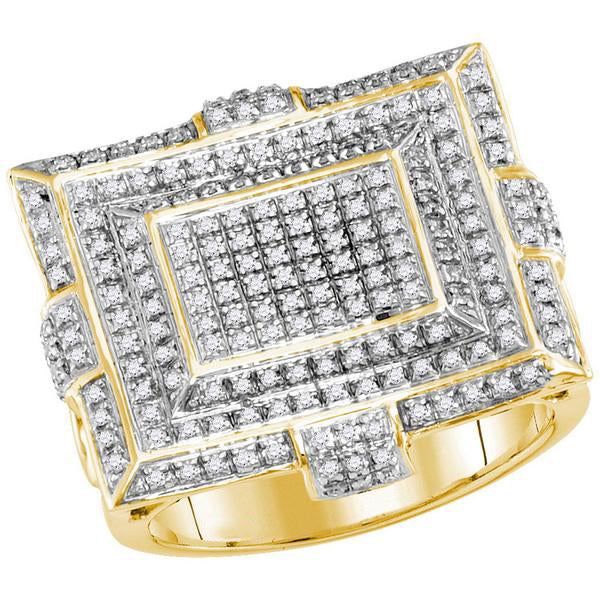 Men's 5/8 Ct Diamond Square Cluster Fashion Ring in 10K Yellow Gold
