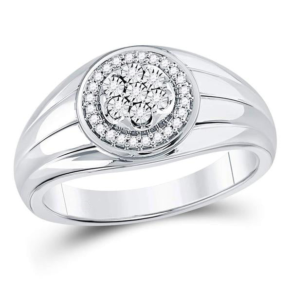 Men's 1/10 Ct Diamond Circle Cluster Ring in 10K White Gold