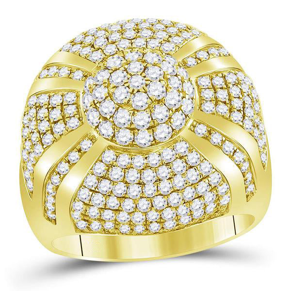 Men's 3-5/8 Ct Diamond Large Cluster Ring in 14K Yellow Gold