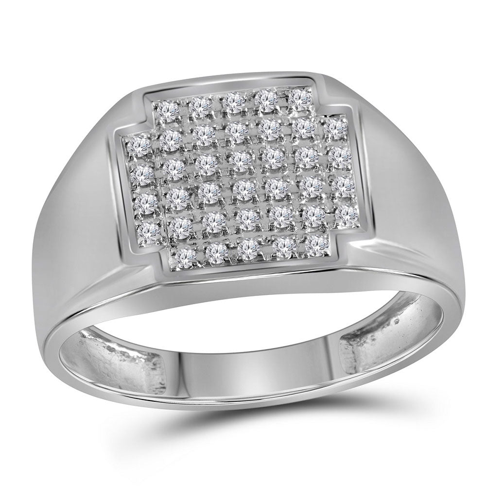 10K White Gold Mens Round Pave-set Diamond Square Cluster Ring 1/4 Ct