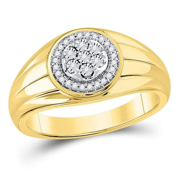 Men's 1/10 Ct Diamond Circle Cluster Ring in 10K Yellow Gold