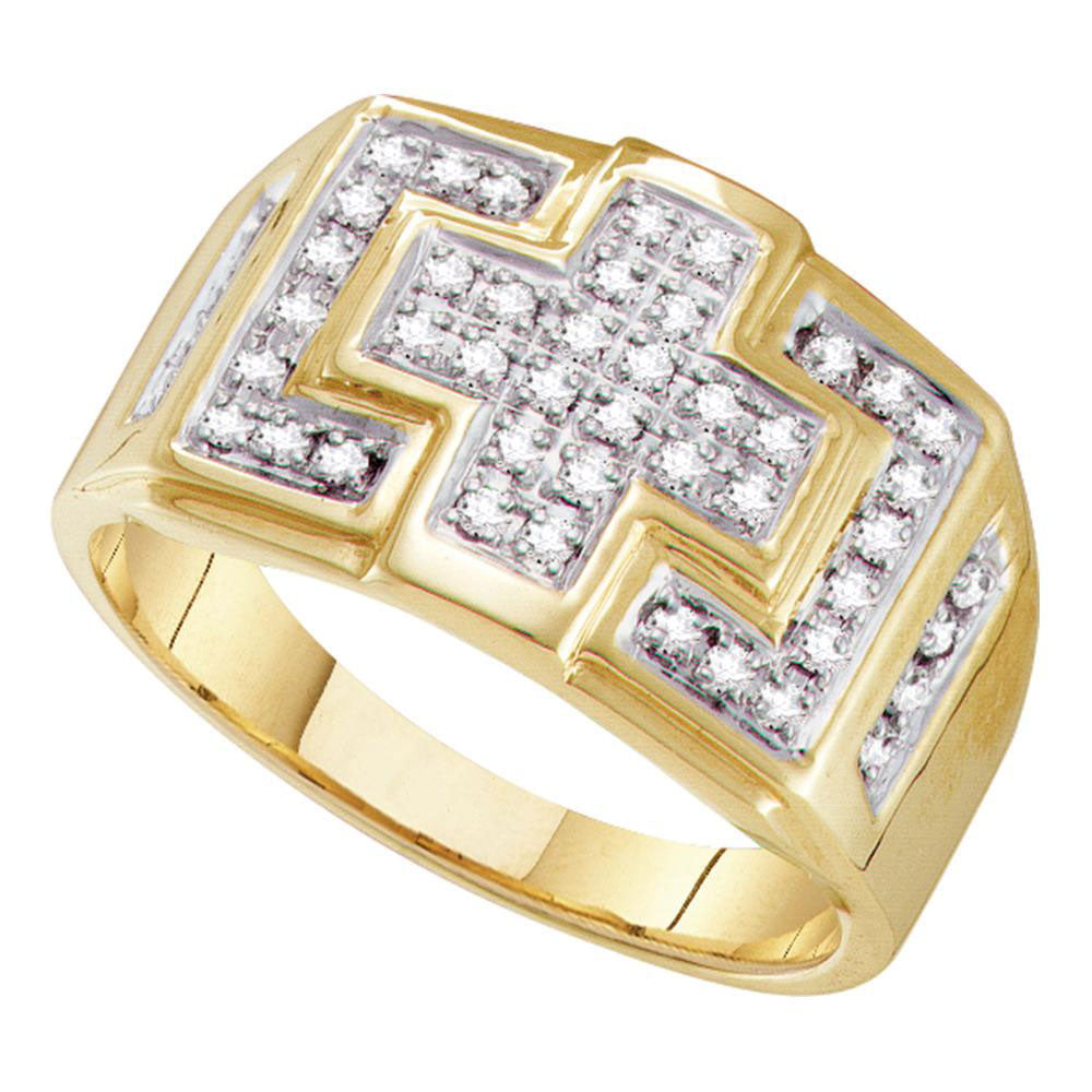 10K Yellow Gold Mens Round Diamond Square Cross Cluster Ring 1/3 Ct