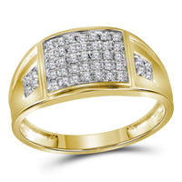 10K Yellow Gold Mens Round Prong-set Diamond Square Cluster Ring 1/4 Ct