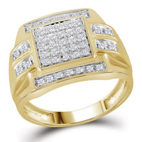 10K Yellow Gold Mens Round Diamond Square Cluster Ring 1/3 Ct