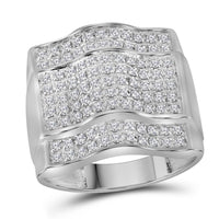 10K White Gold Mens Round Diamond Arched Square Cluster Ring 1.00 Ct