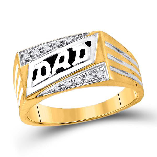 Men's 1/12 Ct Diamond Dad Father Band Ring in10K Yellow Gold