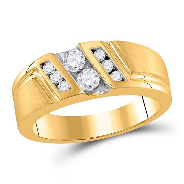 Men's 1/2 Ct Diamond Diagonal 2-stone Band Ring in 10K Yellow Gold