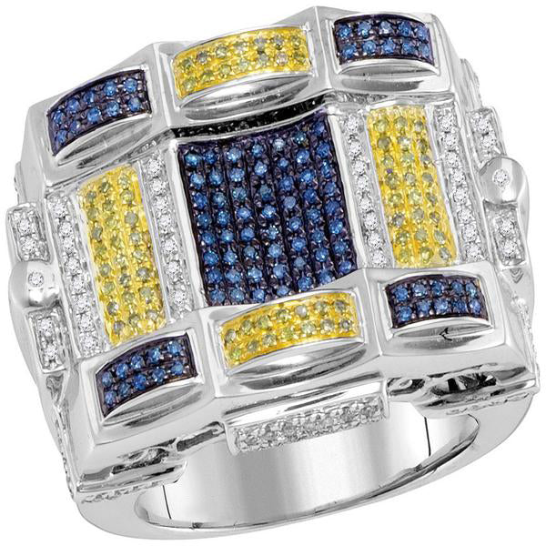 Men's 7/8 Ct Diamond Blue Yellow Color Checkered Square Cluster Ring in 10K White Gold