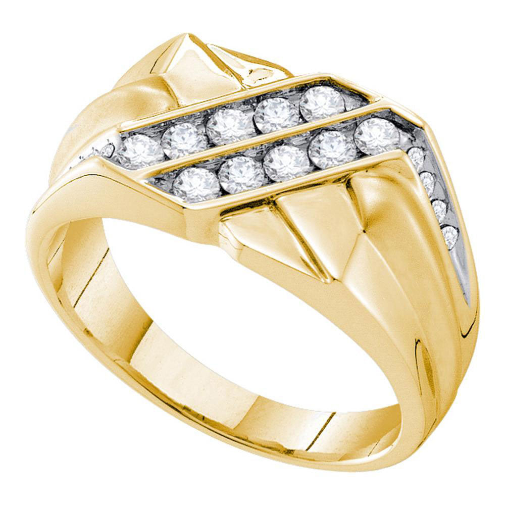 14K Yellow Gold Mens Round Diamond Square Cluster Ring 5/8 Ct