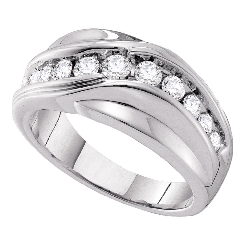 14K White Gold Mens Round Diamond Curved Wedding Ring 1.00 Ct