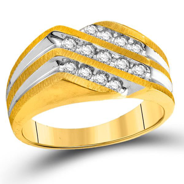 Men's 1/2 Ct Diamond Diagonal 3 Row Fashion Ring in 10K Two-tone Gold