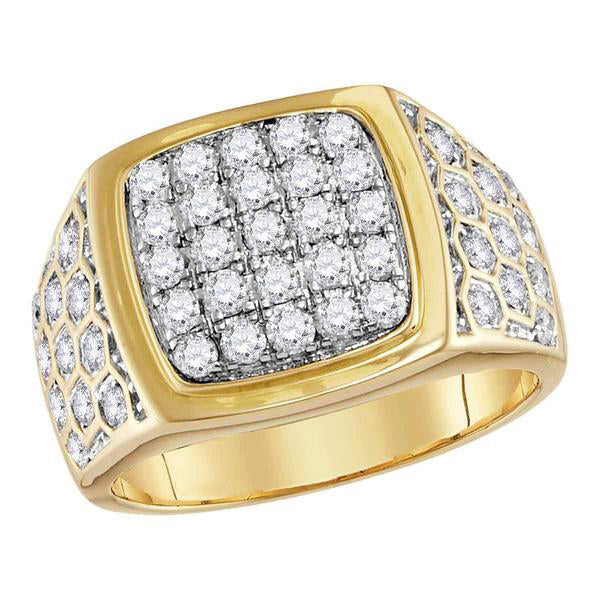 Men's 1-3/4 Ct Diamond Square Cluster Honeycomb Ring in 14K Yellow Gold
