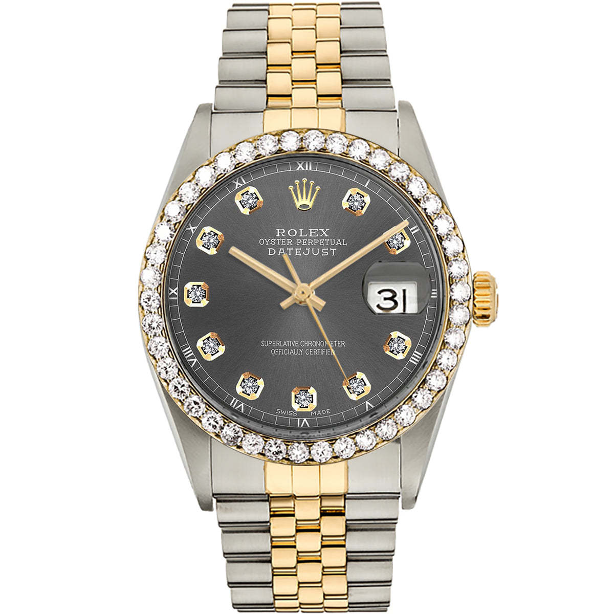Diamond Rolex Two-Tone 18K Gold Datejust 36 Dark Grey Iced Watch