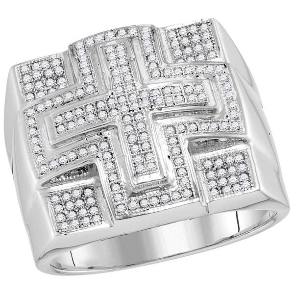Men's 1/2 Ct Diamond Domed Cross Cluster Ring in 10K White Gold
